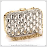 Precioso Rhinestone Clutch Bolsos de noche Diamantes Crystal Elegante brillante Mujeres Carteras Leather Ladies Wedding Bolso monedero