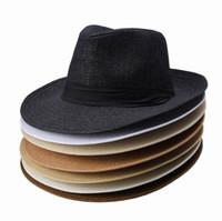 Wholesale Cowboy Hats Ribbon - Brand New Women Men Straw Hat Soft Wide Brim Beach Sun Caps With Ribbon Ornament Colors Choose DUP*1