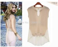 Wholesale Dovetail Shirts - New dovetail short sleeved chiffon blouse chiffon and knit patchwork chiffon shirt S M L XL