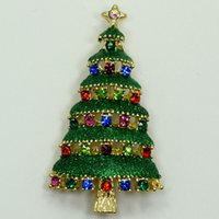 Wholesale Gold Plated Christmas Tree Brooch - Wholesale Multi-color Crystal Rhinestone Enameling Gold Plated Christmas tree Pin Brooch Christmas gifts C820 E5