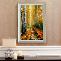 Wholesale modern palette knife for sale - 100 Hand painted oil painting modern home decoration fall style canvas mural high quality color palette thick oil knife painting JL042