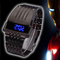 Wholesale Iron Man Conception Watch - Wholesale-New luxury LED Watch Stainless Steel fashion men watch Iron Man Conception Blue LED free shipping W21