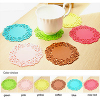 Wholesale Creative Korean Style Colorful Lace Silicone Tea Cup Mat Coffee Mug Pad For Kitchen Round Coaster Hotel Cafe Tool