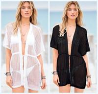 Wholesale Sheer Bikini Women - Sexy Hot Women Sheer Crochet Stripes Lace Bikini Coverup Mini Dress Black White Hollow Out Wrap Dresses Smooth Boho Beachwear Dress 847