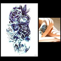 Wholesale Tattoos Designs Sketches - Wholesale- 1pc Sketch Flower Arm Tattoo Sticker Women Men Body Art HB578 Peacock Feather Skull Time Bone Design 3D Temporary Tattoo Sticker