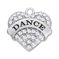Wholesale Love Rhinestone Charms Wholesale - Factory Price Rhodium Plated Fashion Rhinestone Plated Heart Pendant Text DANCE Charms For DIY Jewelry