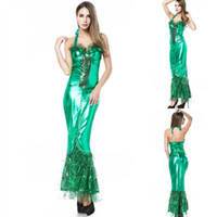 Wholesale Long Siren - Sexy Sea Siren Long Dress Green Women Costume Adult Party Uniform Dance Shown Dress Hot Sale Good Quality