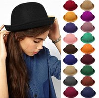 Wholesale Ladies Felt Hats Wholesale - Hot Sale !! Vintage Women Lady Cute Trendy Wool Felt Bowler Derby Fedora Hat Cap Hats Caps 19 Colors