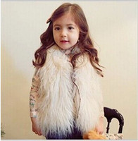 Wholesale Child Plush Coat - New Baby Girls Long Hair plush faux Sheep fur Warm Vest coat clothing Autumn Winter wear Clothes baby Children Waistcoat jacket CF01