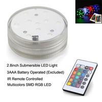 luzes submersas led controle remoto venda por atacado-Luz led submersível (12 pçs / lote) controle remoto bateria operado RGB multi-cores de luz para vasos de mesa decoração de casamento
