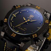 Wholesale Shark Brand Wrist Watch - Kitefin Shark Brand LED Men Digital Wristwatch Black Yellow Alarm Leather Band Military Relogio Masculino Wrist Quartz Sport Watch   SH263