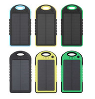 Wholesale Smart Phone External Battery Charger - Brand 100% 5000mAh Portable Waterproof Solar Charger Dual USB External Battery Power Bank with LED Lights for Smart Mobile Phone PAD Tablets