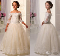 Wholesale Little White Corset Wedding Dress - 2017 Elegant Off Shoulders Flower Girl Dresses Sheer Half Sleeves Lace Appliques Ball Gown Little Girls Pageant Dresses Corset Back Dresses