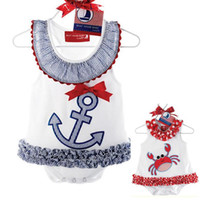 Wholesale Infant Sailor Dresses - 2014 new baby rompers summer girl dress romper boat anchor sailor lace dress romper newborn bebe infant clothing wear 529A A5