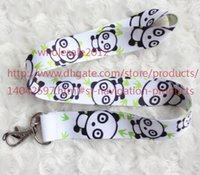Livraison gratuite New Lot 10pcs Panda Phone Lanyard Key ID Neck Strap Cell Phone Straps Charms Wholesale