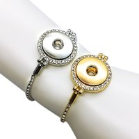 Wholesale gold bracelets for men - high quality silver gold 227 Rhinestone stretchable 18mm Snap Button Bracelet Interchangeable Charm Jewelry For Women Men