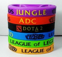 jeux de la jungle achat en gros de-Chaud! 2015 Vente au détail LOL GAMES Souvenirs 100% bracelet en silicone LIGUE de LEGENDS Bracelets avec ADC, JUNGLE, MID, SUPPORT, TOP, bande imprimée
