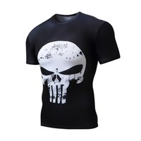 Wholesale Black Milk Clothing L - 2017 new men's compression short sleeved skull t-shirt, outdoor sports quick drying tight clothing, round neck high elastic milk silk
