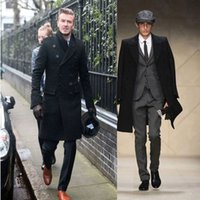 Wholesale Mens Double Trench Coats - Hot New Fashion Slim Fit Men Casual Trench Coat Mens Long Winter Coats Mens Man Wool UK Style Outwear Overcoat Outerwear