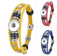 Wholesale button bracelets online - 10PCS Ginger Snap Button Jewelry Leather Braided Bracelet mm Colors ginger snap bracelets jewelry
