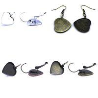 Wholesale Hook Brass Earring - Beadsnice bezel earrings brass earring hook with heart shape bezel setting earring blank jewelry making supplies ID 32233