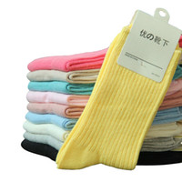 Wholesale Cotton Bar Girl - Wholesale-2015 Hot Sale Women's Socks 100% Cotton Colorful Candy Color Vertical Bar Girls Socks Fashion Solid Color Brand Sock