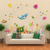 Wholesale Fishing Wall Decals - Cartoon DIY Wall Stickers Underwater World Sea Various Shark Fish Ocean Art Decor Mural Kids Child Room Bedroom Decal