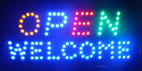 Wholesale Advertising Lighted Sign - Welcome Open LED Light Animated Neon Sign size 10*19 inch semi-outdoor advertising Plastic PVC frame Display