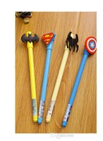 Wholesale Stylus Gel Pen - 2015 Novelty Cartoon Superman Spider Pen Creative European style Stationery stylus pen Batman America Captain gel pen Christmas gift ideas