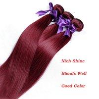 vinho vermelho cor do cabelo indiano venda por atacado-Borgonha Vinho Cor Vermelha 99J Brasileiro Virgem Do Cabelo Weave Bundles Peruano Malaio Indiano Sedoso Reta Remy Extensões de Cabelo Humano