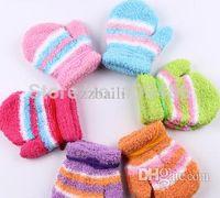 Wholesale Newborn Baby Boy Mittens - 2 Pairs lot Baby Infant Winter cartoon gloves Handguard Mittens Boy Unisex Newborn Kid Color Gloves For 1-4years ST10