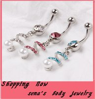 Wholesale Spiral Belly - 2016 new Women Sexy Body Dangle Spiral Belly Button Rings Body Piercing Pearl Navel Rings