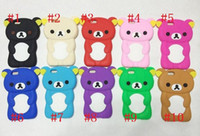Wholesale Rilakkuma Iphone 4s Cases - Rilakkuma cartoon teddy Bear 3D style soft Silicone Gel Back cover case Relax Bear Cases for iphone 6 4 4S 5G 5C 5S Samsung Galaxy S3 S4