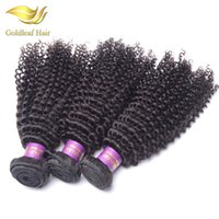 Wholesale Kinky Hair Extensions Products - Goldleaf products Brazilian virgin hair kinky curly 3pcs Mongolian kinky curly virgin hair weave bundles human Hair extension