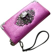 Wholesale Skull Handbag Retro - Wholesale-Women's Novelty Skeleton Skull Retro Wallets Unique Scorpion Punk Purse Rain Pattern Carteira Feminina Zipper Wallet Handbag