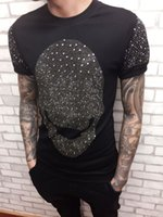 Wholesale Import Shirt - 2017 The new Metrosexual Korean personality full diamond skull t-shirt imported hoodies T-shirt bag mail