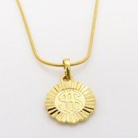 collar de cadena de cuerda de 1 mm al por mayor-Moda $ coin colgante 24K Gold Gold Filled GF 1mm collar de cadena de cuerda para hombres / mujeres 5G