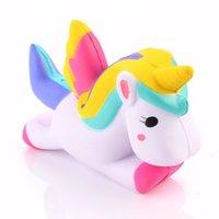 Wholesale Horses Flies - Kawaii Squishies Flying Jumbo Unicorn Pony Horse Kid Toys Squishy Slow Rising Cream PU Foam Decompression toys Cell Smart Phone Strap Charms