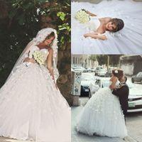 Wholesale Empire Waist Sweetheart Ball Gown - 2017 Gorgeous Arabic Said Mhamad A Line Wedding Dresses Sexy Sweetheart Ball Gowns Floral Flowers Empire Waist Plus Size Vestidos De Noiva