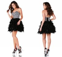 Wholesale Sequin Homecoming Dresse - 2017 Black Cocktail Party Dresses with Feathers Sexy A Line Sweetheart with Glitter Beading and Rhinestones Lace up Short Homecoming Dresse