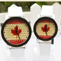 Wholesale Maple Leaf Watch - Fashion Canada Maple Leaf Dial Lover Watches High Quality Leather Casual Watches Quartz Watch for 2017 Christmas Gift