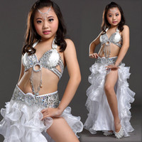 Wholesale kids indian dance costumes - Girls Kids Belly Dance Costume Bollywood Indian Oriental Dance Carnival Children's Stage Dancing Outfit 8 Colors