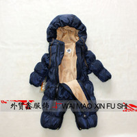 Wholesale Baby Puff Jackets - Wholesale-Baby new fashion warm feather conjoined cotton-padded jacket