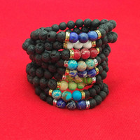 Wholesale Prayer Jewelry - Lava Rock Stone Beads Bracelet Natural Stone Turquoise Prayer Buddha Bracelet Bangle Cuffs for Women Men Fashion Jewelry Drop Shipping
