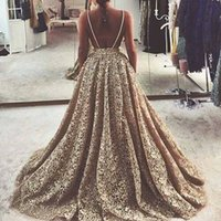 Wholesale Sexy Dress Ballgown - Gold Lace Prom Party Dresses Long Ballgown Backless Spaghetti 2016 Style Formal Evening Gowns Plus Size Special Occasion Dressess for Women