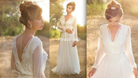 Wholesale wedding dress rustic sashes for sale - Simple Long Sleeve Boho Wedding Dresses Deep V Neck Empire Waist Open Back Beautiful Country Rustic Wedding Dresses For Pregnant Women