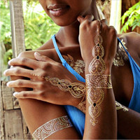 Wholesale Wrist Foot Cuffs - 100 styles gold silver metallic tattoos necklace bracelet flash jewelry tattoos Sparkle shine temporary tattoos chic chains cuff bands tat