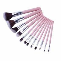 jessup escovas de maquiagem venda por atacado-Jessup marca 12 pcs rosa prata professional makeup brush set beauty make up cosméticos kit eyeshadow fundação blush ferramentas