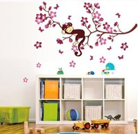 Wholesale Monkey Wall Papers - ZY7020 DIY pink branch animal monkey vinyl wall stickers for kids rooms boys girl wall papers home decor child sticker wall