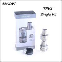 Wholesale Electronic Cigarette Kit 5ml - Top Quality Smok TFV4 Tank SS&Black Single Kit Clearomizer 5ml Sub ohm Coils TFV4 Atomizer Electronic Cigarette for xube ii box mod